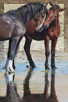 Wild Nevada Mustangs - Sculpture Art by ValWarner