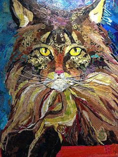Paper Paintings: Huxley, The Therapy Cat Paper Collage Art, Collage Artwork, Paper Art, Cut Paper, Magazine Collage, Cat Quilt, Animal Quilts, Mural Art, Medium Art