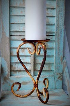 Rusty Metal Candle Holder by upcyclesisters on Etsy