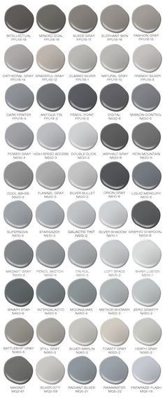 Do you love the color grey? I would paint every room in my house a different color grey! Colorfully BEHR has compiled a safe for work version of 50 Shades of Grey (paint shades that is). Paint Shades, 50 Shades, Black Shades, Br House, House Bath, Cozy House, Grey Paint Colors, Neutral Colors, Colour Gray