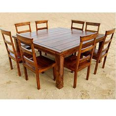 Appalachian Rustic Square Wood Dining Table And Chair Set For 8 People
