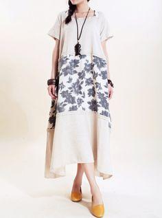 Linen Summer Maxi Dress/ Loose Fitting Sundress Short by MaLieb, $102.00