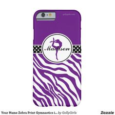 """Your Name Zebra Print Gymnastics in Purple Barely There iPhone 6 Case - Wild zebra print gymnastics iPhone 6 case in purple. A gymnast silhouette poses inside a circle and there is a """"polka-dot"""" banner for contrast. Add your own name before ordering! Additionally, use the """"customize it"""" button for more options, including a different font!  ©gollygirls.com"""
