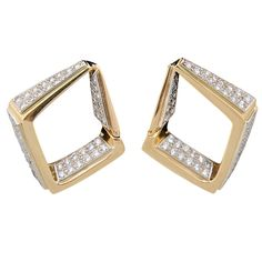 Geometric Gold Diamond Shaped  Earrings with Pave Diamonds