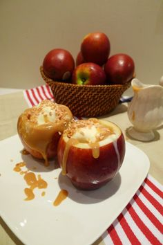 Hollow out apples and bake with cinnamon and sugar inside. After it's done baking, fill with ice cream and caramel. Hello amazing fall treat!