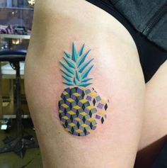 Colorful Abstract Pineapple Tattoo