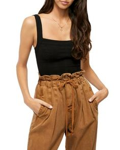 Free People Scarlett Square-Neck Tank Top Back to Results - Women - Bloomingdale's Tank Top Outfits, Basic Outfits, Cute Outfits, Square Neck Top, Athletic Women, Athletic Body, Layered Look, Black Tank Tops, Going Out