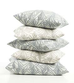 handprinted cushions, charlottes fan,  by Helene Blanche
