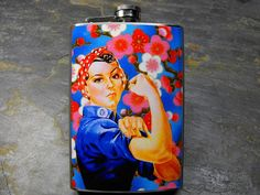 Rosie the Riveter Decorated Stainless Steel 8oz  by dnacreations