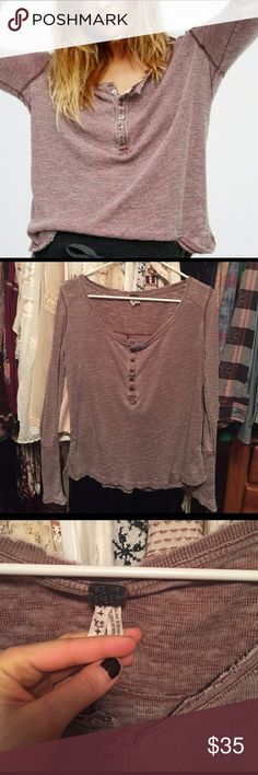Free people Gigi Henley Like new, no flaws. Worn a couple time. Color is washed rose Free People Tops Tees - Long Sleeve