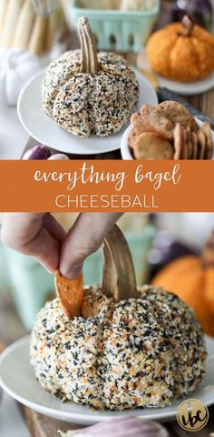 This pumpkin-shaped Everything Bagel Cheeseball is the perfect fall appetizer recipe. #cheeseball #fall #appetizer #autumn #cheese #ball #everythingbagel #everything #bagel