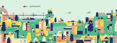 A selection of illustrations portraying a fun stylisation of people in various environments.