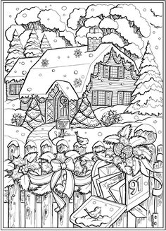 Cabin with Mailbox Winter Scene from Creative Haven Country Christmas Coloring Book -- dover publications