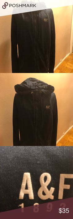 Men's Small A&F hooded jogging jacket Men's Small Abercrombie and Fitch hooded jogging jacket. Can be worn by women. Size small. Fleece inside and polyester outside. 26 inches long  Great condition  Feel free to make an offer Abercrombie & Fitch Sweaters Zip Up