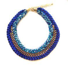 Bohemian / Boho Blue Purple Pastel Gold brass Rope / by XenaStyle
