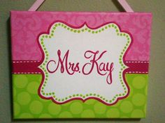 Pink and Lime Green Polka Dot/Damask Name Sign for Teachers, Nurseries, Sports Room, Offices. $35.00, via Etsy.