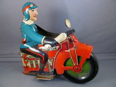 Vintage Marx Toy Co Speed Boy Delivery Motocycle Tin Toy Front End Only | eBay