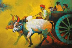 Buy painting online - the original artwork by artist Sachin Akalekar, exclusively available at Mojarto only. Check price, images and description online. Indian Folk Art, Indian Artist, Viria, Krishna, Christmas Canvas Art, Rajasthani Painting, Indian Drawing, Composition Painting, Indian Contemporary Art