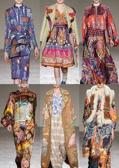 Milan Fashion Week Womenswear Print Highlights Part 1 – Autumn/Winter 2015/16 | Patternbank_African Graphics_Paisley_Himalayan Ethnics_Indian Landscapes_Tropical_Indian Illustrations_Blue & White China_Batik Pattern Patchwork