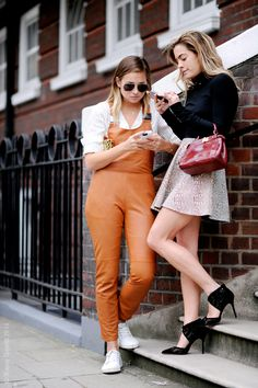 Chelsea and Jenny, LFW, Street Style Fashion SS15S. London.