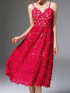 Red Backless Crochet Hollow Out Dress -SheIn(Sheinside)