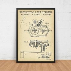 DB0241 - Motorcycle Kick Starter Patent Printable. Digital Files Only, No physical Products will be shipped. The artwork comes in 5 background styles: Vintage, Ivory, Blueprint, Chalkboard & Navy…MoreMore  #patentart