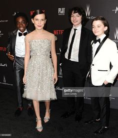 Caleb McLaughlin, Millie Bobby Brown, Finn Wolfhard and Noah Schnapp attend the 2017 Weinstein Company and Netflix Golden Globes after party on January 8, 2017 in Los Angeles, California.