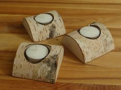 3 wooden candle holders, birch wood tealight holders,christmas decor, wedding decor, christmas gift, home decor