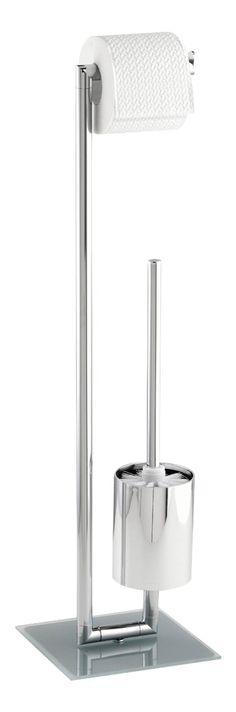 Klassische Bürstengarnitur in stilvoller Optik aus verchromten Stahl mit einem Toilettenpapier-Rollenhalter und offener WC-Garnitur. Die schwere Bodenplatte aus satinierten Sicherheitsglas sorgt für einen festen Stand. Gesehen für € 44,99 bei kloundco.de.