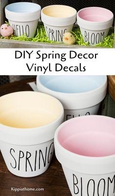 DIY Spring Decor – Vinyl Decals free SVG files Craft some pretty spring decor with your Cricut Maker and chalk paint. Free SVG cut files to make spring vinyl decals. Spring Projects, Spring Crafts, Holiday Crafts, Home Crafts, Spring Home Decor, Diy Spring Decorations, Dollar Tree Crafts, Easter Crafts, Easter Decor