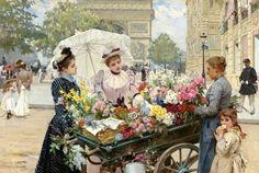 The Flower Seller On The Champs Elysées~ Louis Marie de Schryver 1862-1942 ~