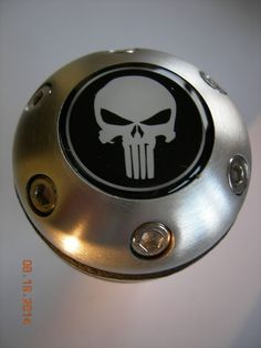 THE PUNISHER BLACK AND WHITE ALUMINUM LEATHER GEAR SHIFT KNOB UNIVERSAL CANE TOP