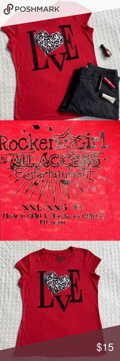 """ROCKER GIRL """"LOVE"""" BURNOUT TEE SHIRT 🌺... All Access Entertainment Tops Tees - Short Sleeve"""