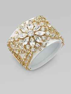 Vionnet Crystal Accented Cuff Bracelet.  Follow us @SIGNATUREBRIDE on Twitter and on FACEBOOK @ SIGNATURE BRIDE MAGAZINE