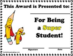 Super Student Award, Awards, Awards - Free Printable Ideas from Family… Free Gift Certificate Template, Printable Certificates, Award Certificates, Kids Awards, Student Awards, Star Students, New Students, First Grade Reading Comprehension, Super Reader