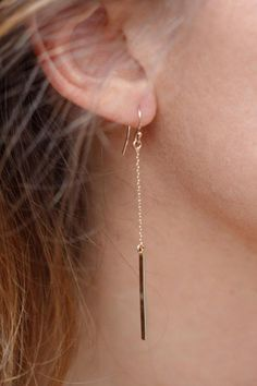 Delicate and Simple! So Pretty! Gold Simple Chain Earrings