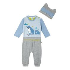 Baker by Ted Baker Babies blue bear applique bodysuit, trousers and hat set- | Debenhams