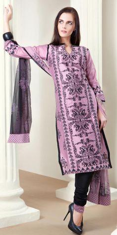 $63.13 Pink 3/4 Sleeve Cotton Salwar Kameez 14049