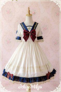 IchigoMiko -Ballad By The River Seine- Sailor Style Lolita OP Dress,Lolita Dresses, Pretty Outfits, Pretty Dresses, Beautiful Dresses, Cosplay Dress, Cosplay Outfits, Sailor Fashion, Lolita Fashion, Kawaii Fashion, Cute Fashion