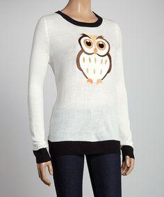 Look at this #zulilyfind! White Owl Sweater by Sweet Girl #zulilyfinds
