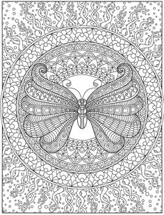 Willkommen bei Dover Publications – Color pages - Malvorlagen Mandala Pattern Coloring Pages, Printable Adult Coloring Pages, Mandala Coloring Pages, Free Coloring Pages, Coloring Books, Coloring Sheets, Mandalas Painting, Mandala Drawing, Butterfly Coloring Page