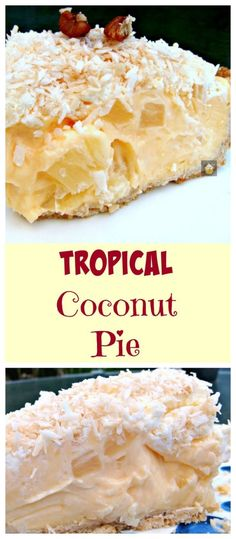 TROPICAL COCONUT PIE! It is so creamy and has a rich coconut flavor, laced throughout with juicy pineapple chunks and a crispy pie crust. Heavenly! by ZaraFee