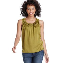 Ruched Neck Shell- Dark Celery