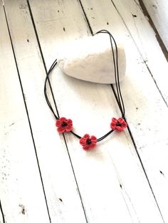 Crochet Coral Flowers Black Beads with Thin Leather by ReddApple, $28.00