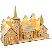 WeRChristmas Dorf Aus Holz Mit Kirche, 35 Cm, Beleuchtet,  Weihnachtsdekoration, Mit 12