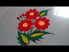 Very easy smile flower Rangoli design by Jyoti Raut Rangoli Easy Rangoli Designs Diwali, Simple Rangoli Designs Images, Rangoli Designs Latest, Rangoli Designs Flower, Free Hand Rangoli Design, Rangoli Ideas, Diwali Rangoli, Flower Rangoli, Beautiful Rangoli Designs
