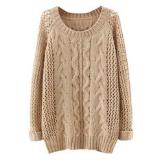 Plain Raglan Sleeve Cable Open Knit Sweater (€25) ❤ liked on Polyvore featuring tops, sweaters, shirts, long sleeves, beige long sleeve shirt, open stitch cable sweater, open-stitch sweater, raglan sweater and long sleeve raglan shirt