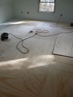 plywood floor...think it would look great with a dark stain on it, then poly