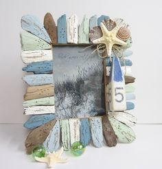 Beach Decor Driftwood & Seashell Frame Hanukkah