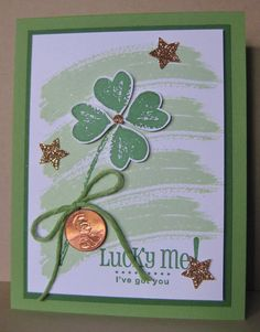 Lucky Me! - SU - Work of Art, Lotus Blossom (SAB) stamp set, (retired) Pinch Proof - St Patrick's Day Card (by Barb Mann)